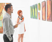 People reflecting on art in a museum — Stock Photo