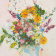 Stock Photo: Beautiful flower bouquet, oil painting
