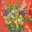 Fantastic flower bouquet, oil painting — Stock Photo