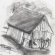 Charcoal sketch of an old barn — Stock Photo