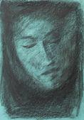 Hand drawn charcoal portrait — 图库照片