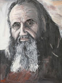 Portrait of priest, oil painting — Stockfoto