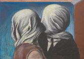 Lovers kiss, pastel drawing reproduction — Stock Photo