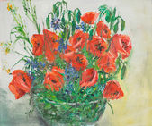 Vibrant poppies bouquet in vase, oil painting — 图库照片