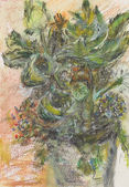 Wild flowers in a vase, pastel drawing — Stock Photo