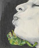 Donna in attesa di essere baciato da una rana — Foto Stock