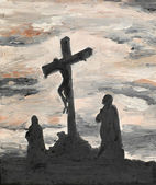 Jesus crucified on Golgotha — Stock Photo