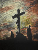 Jesus crucified on Golgotha, pastel technique — Stock Photo