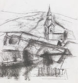 Freehand drawing of village — Stock Photo