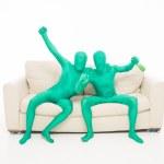 Happy green men — Stock Photo