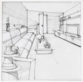 Drawing of interior living room — Stock Photo