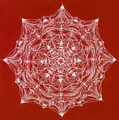 Complex mandala on red background — Stock Photo