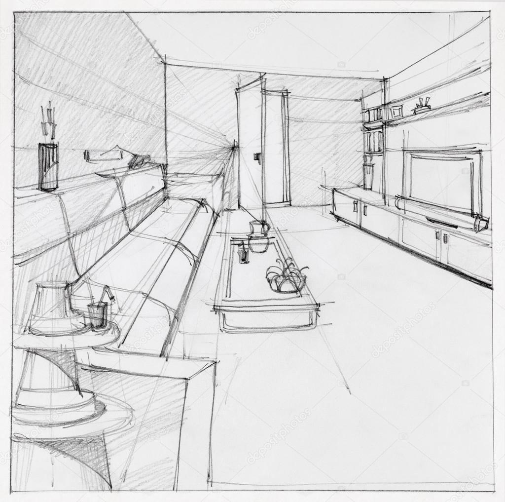 wohnzimmer zeichnung:Herunterladen – Zeichnung der Innenraum Wohnzimmer — Stockbild