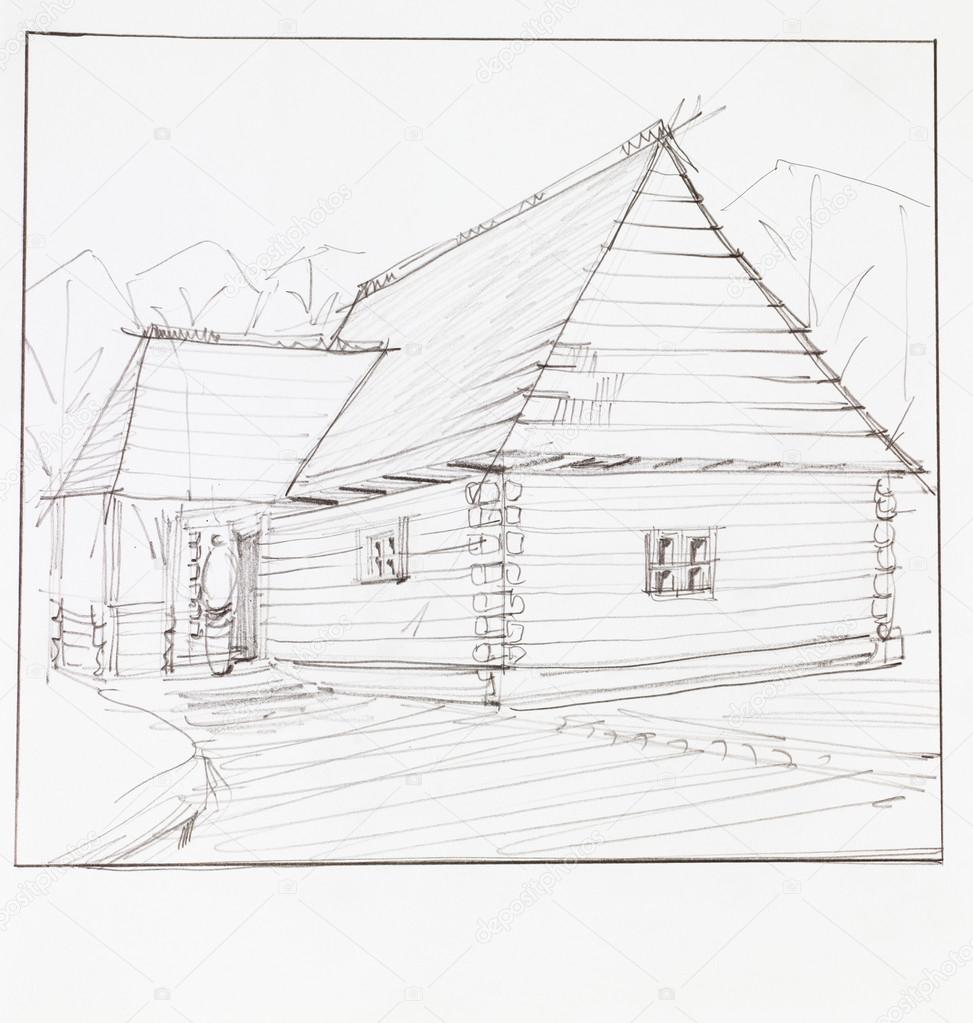 建筑的木的小木屋,手工绘制的角度