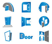 Set of door emblems and signs — Stock Vector