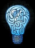 Big idea light bulb — Stock Vector