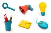 Conjunto artesanal de ícones web de plasticina — Foto Stock