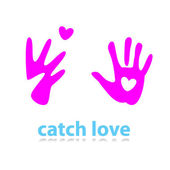 Catch-love-heart — Vector de stock