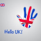 Background-hand with the flag of UK — Stock Vector