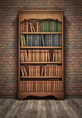 Old bookshelf in room — Stock Photo