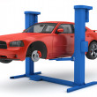 Stock Photo: Car lifted up on lift