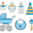 Baby boy icon set — Stock Vector