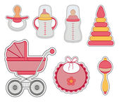 Baby girl icon set — Stock Vector
