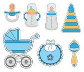 Baby boy icon set — Stock Vector