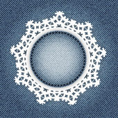 Snowflake lace on denim — Stock Vector