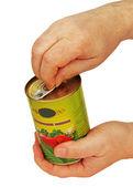 Of tomato sauce in hand. — Stock Photo