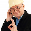 Civil engineer with the phone. — Stock Photo
