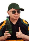 Człowiek z butelką. — Zdjęcie stockowe
