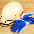 Stock Photo: Helmet, goggles and gloves.