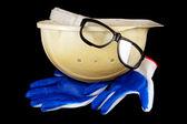 Capacete de construção, luvas, óculos de proteção — Foto Stock
