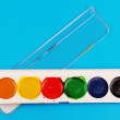 A set of watercolor paints. — Stock Photo