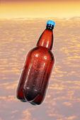 Bottle of beer on background sky. — Stock Photo