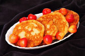 Pancakes and fresh cherry. — Stock Photo