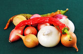Red and green peppers and onions. — Stock Photo