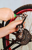 Bicycle repair. — Stock Photo