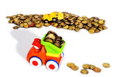 Gold coins transportation — Stockfoto