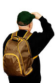 Turista com uma mochila. — Foto Stock