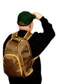 Turista con una mochila. — Foto de Stock