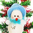 Christmas snowman on the tree. — Stock Photo