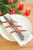 Christmas table decoration — Stock Photo