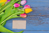 Bouquet of colorful tulips — Stockfoto