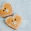 Two сhristmas gingerbread heart — 图库照片