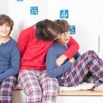 Family in pajamas — Stock Photo