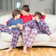 Mother and son in pajamas — Stock Photo