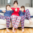 Woman with two sons — Stock Photo