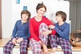 Family in pajamas — Stock Photo